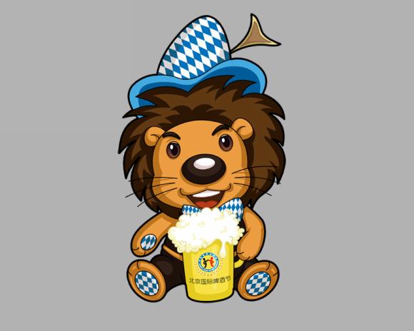 北京国际啤酒节狮子毛绒玩具公仔