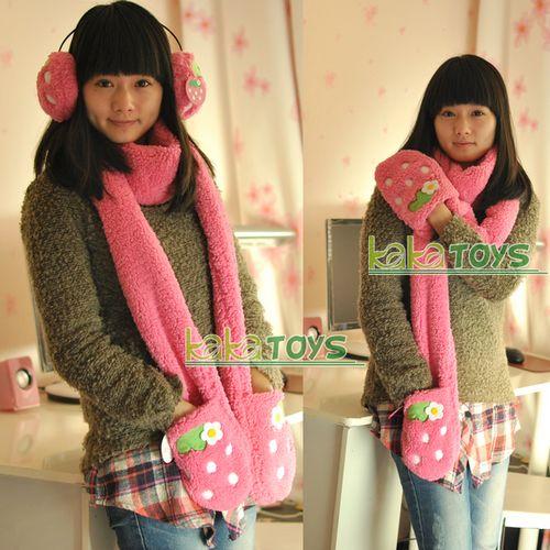 可爱草莓围巾口罩耳罩