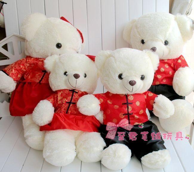 情侣唐装熊婚庆娃娃