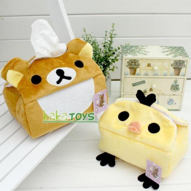 日单轻松小熊创意实用手工布艺抽纸盒套 汽车车用纸巾盒套