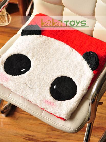 舒棉绒 情侣表情熊猫绑带坐垫/办公椅垫/椅垫