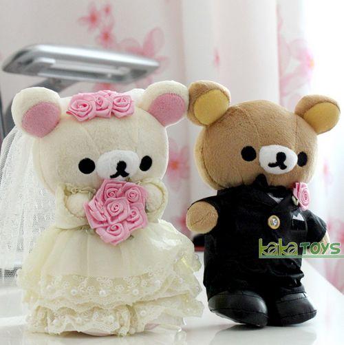 Rilakkuma轻松小熊婚纱礼服毛绒玩具结婚庆车头娃娃公仔礼物
