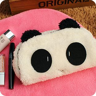 韩版创意礼品可爱毛绒大眼害羞熊猫化妆包收纳包笔袋零钱包相机包
