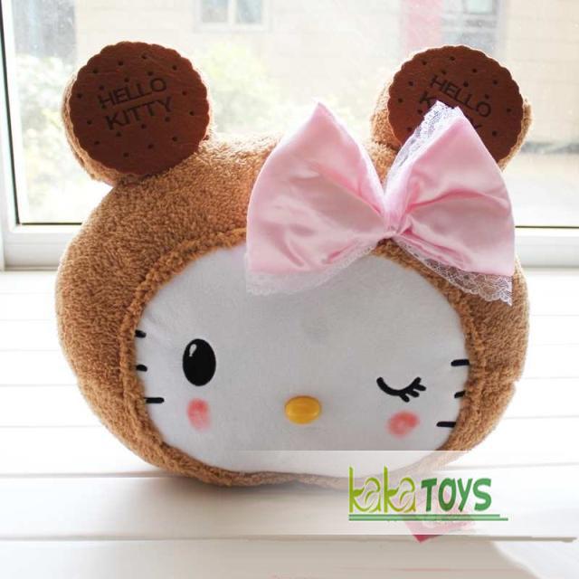 官网同步 hello kitty 蝴蝶结饼干kitty大头造型靠垫 抱枕