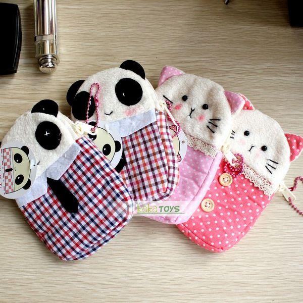 可爱布艺熊猫与猫手机套/零钱包/手机包/钥匙包